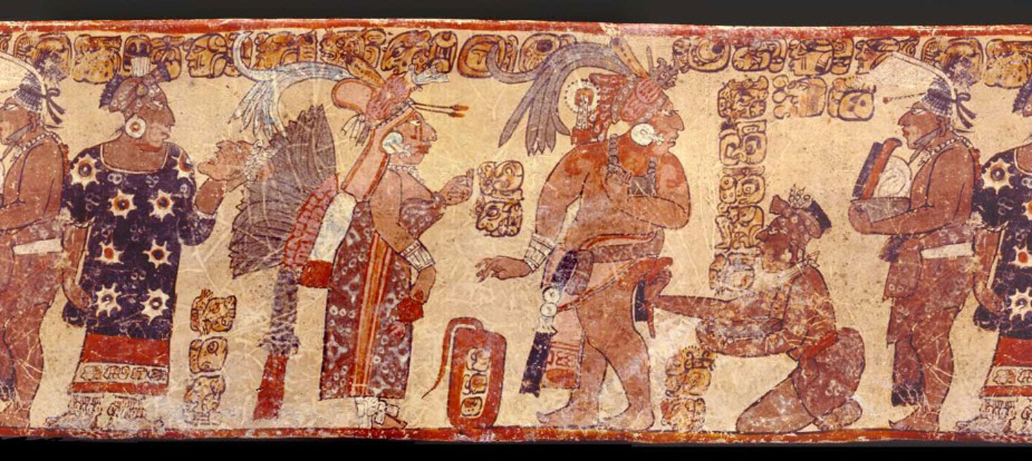 Mural from San Bartolo. One woman (on the left) holds a trophy head (or a death mask?).