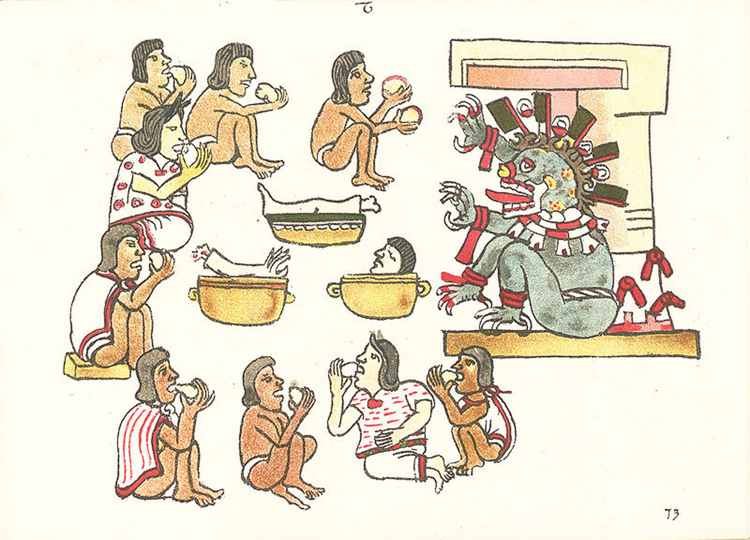 A scene in the  Codex Magliabechiano  depicting ritualistic cannibalism being practised.