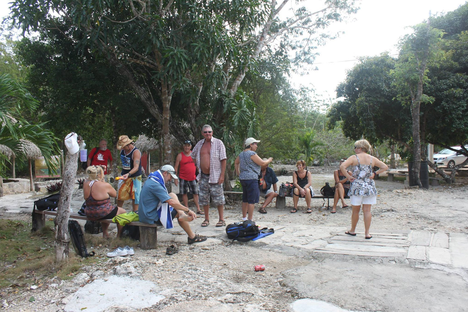 With a group of friends at the cenote, December 2016.