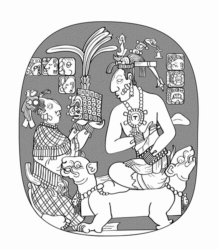 Sak K'uk presents the headdress of rulership to Janaab Pakal. Note her netted skirt, expressing her status as the Regent Queen.
