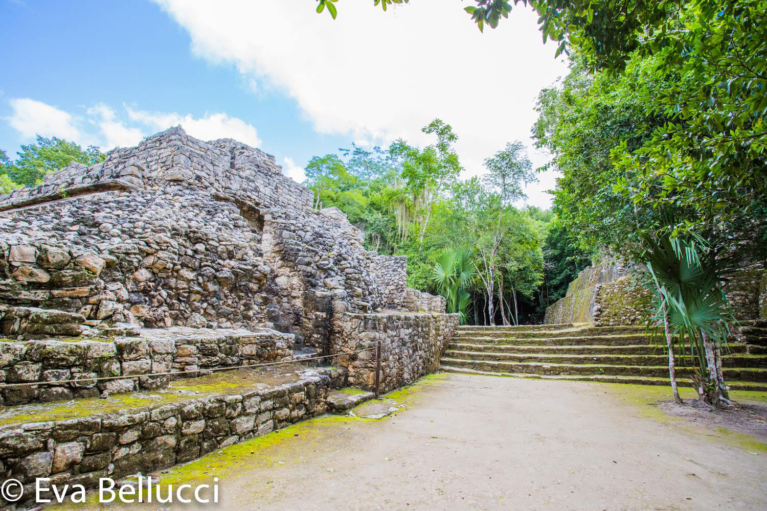The back of the Ball court at the Cobá Group. On the right: the main ball court, on the way to the pyramid.