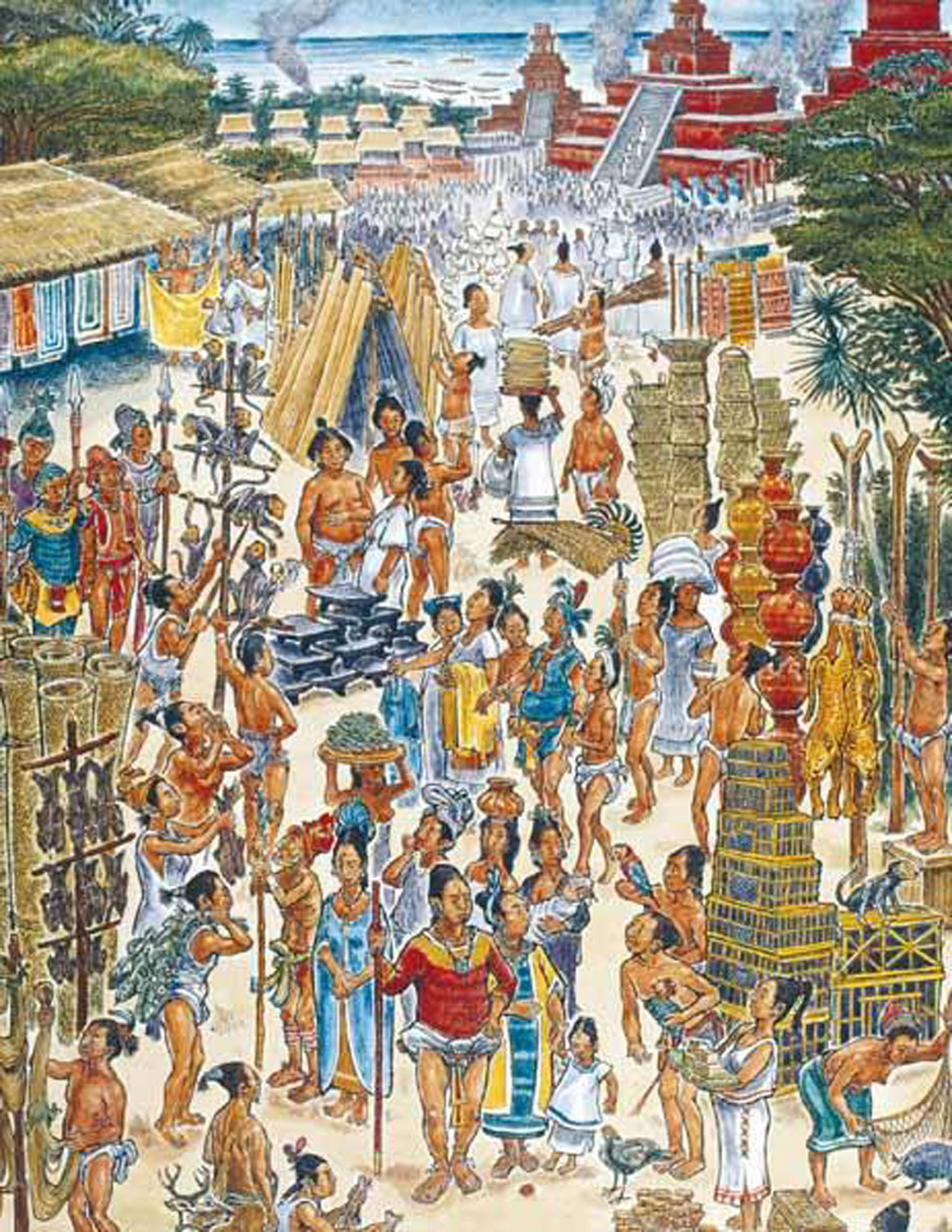 An illustration of what a trading coastal Maya city looked like. From the book Excavations of an Early Shell Midden on Isla Cancún.