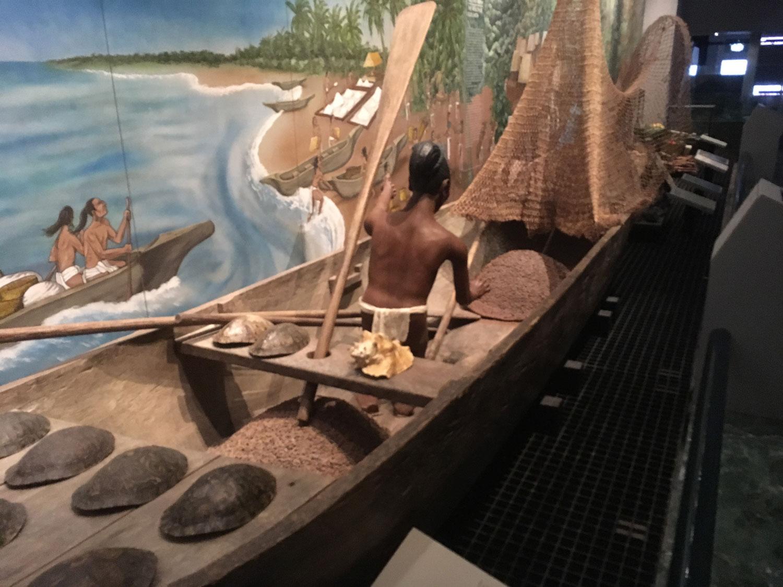 Mayan canoe, a model at the Mayan Museum in Chetumal.