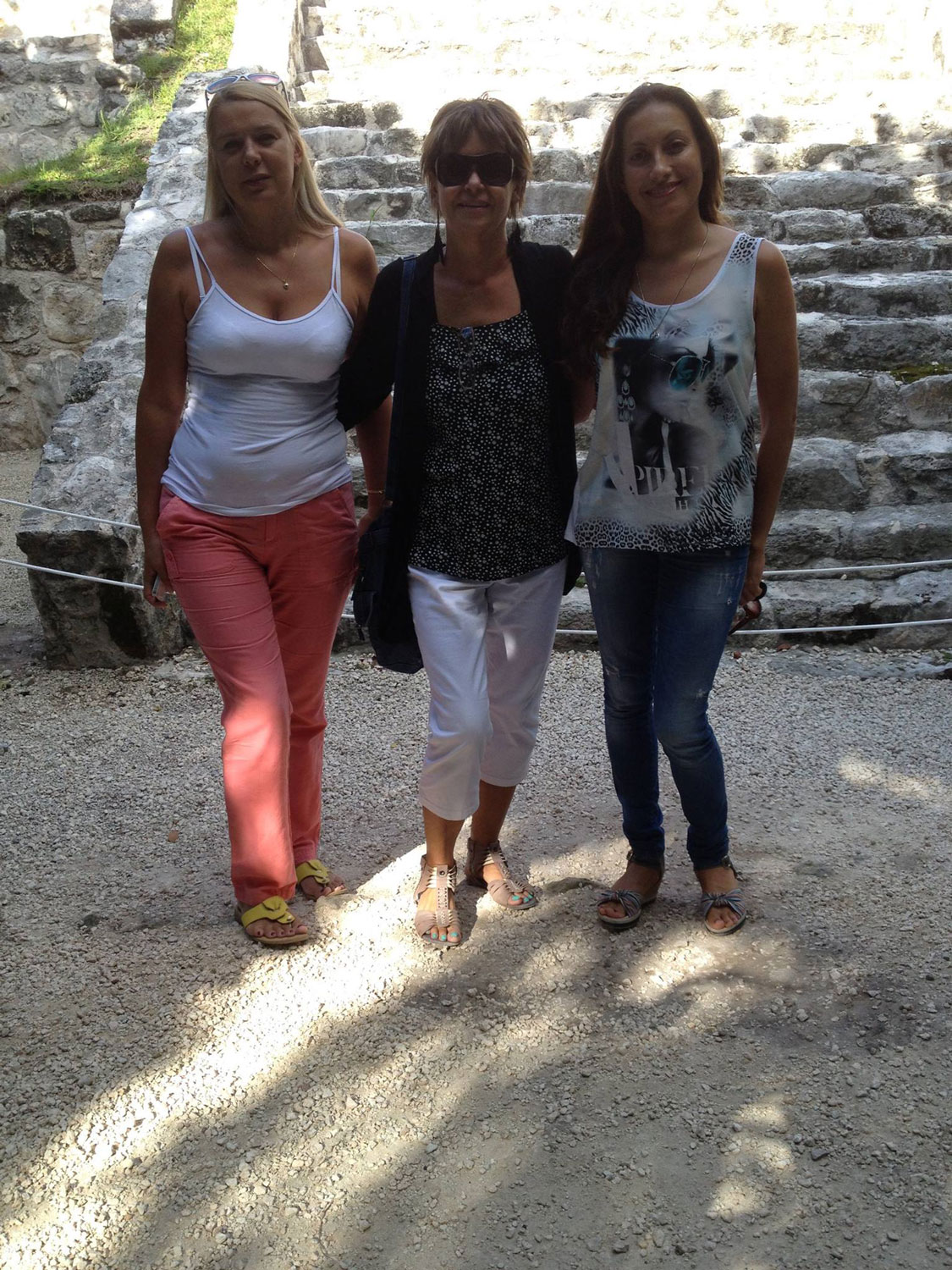With my friends Elena and Nadia, the Chac Palace. 2015.