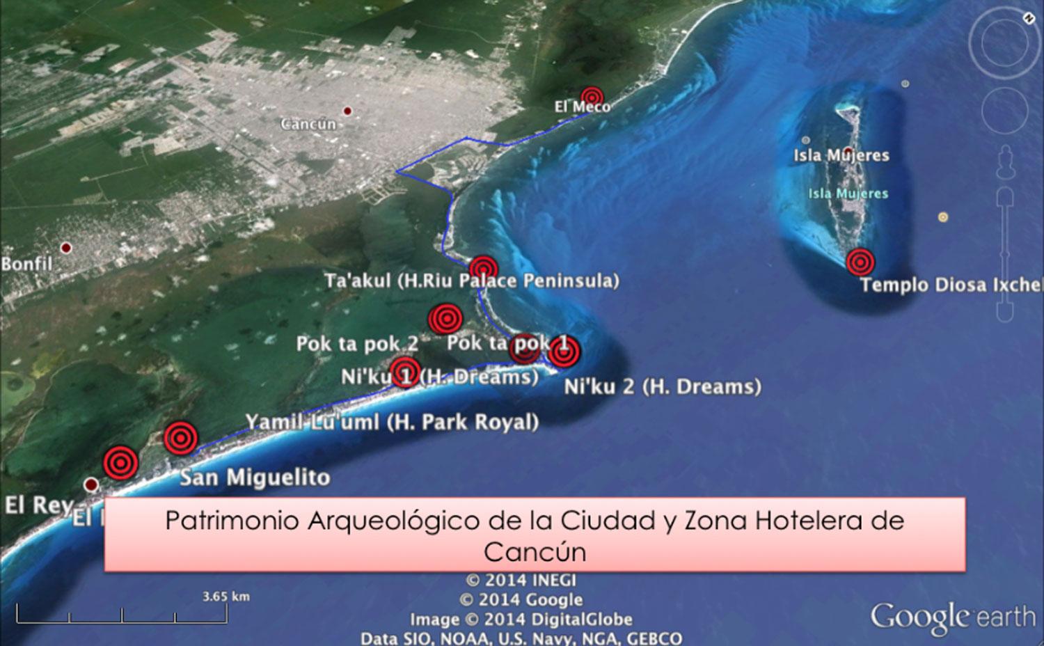 Some of the 17 ruins sites in today's Cancún. Below: fish fossils found in Cancún zone.