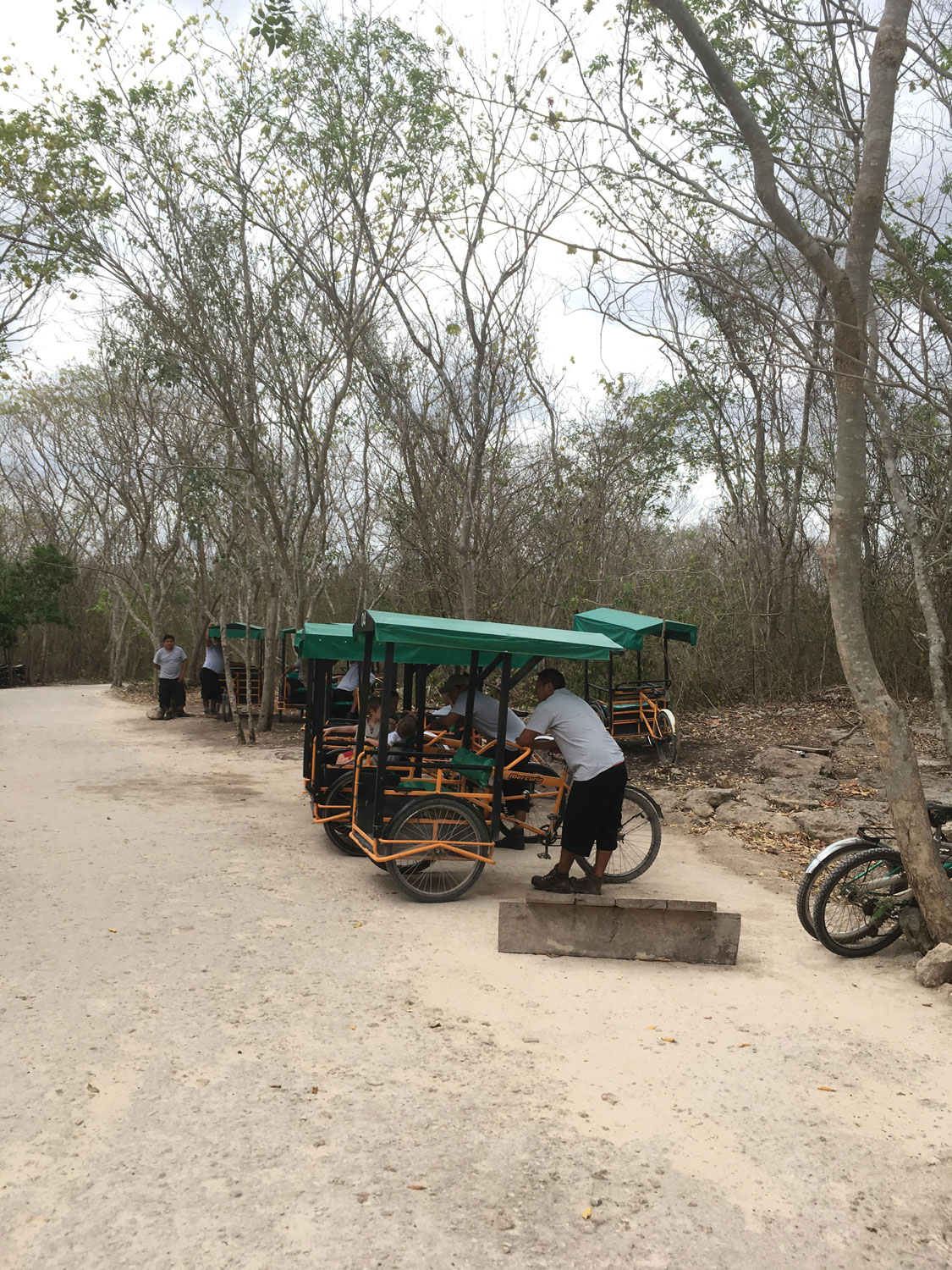 The bici-taxi to the cenote, within the ruin site.