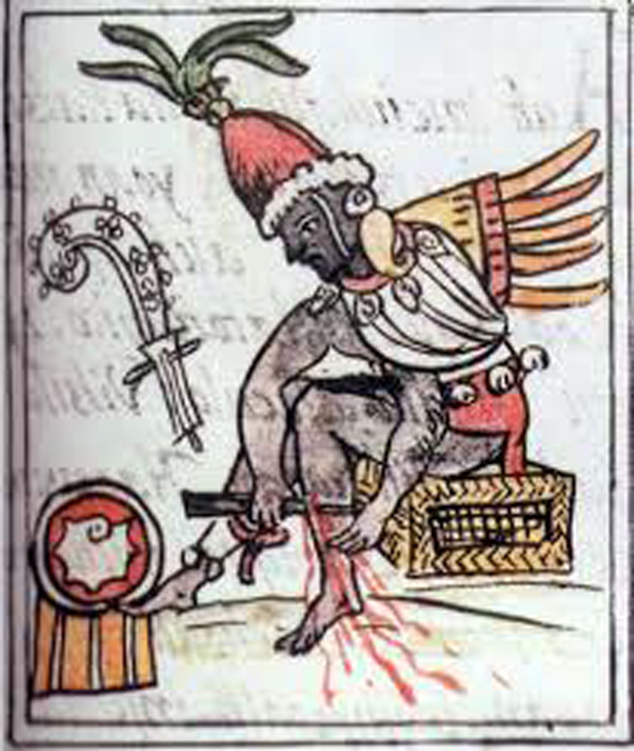 Ce Acatl Topiltzin, the famous priest letting his own blood in self-sacrifice (to give blood to the gods); from  Florentine Codex