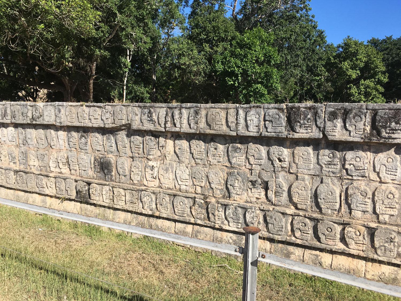 The skulls on the Tzompantli platform.