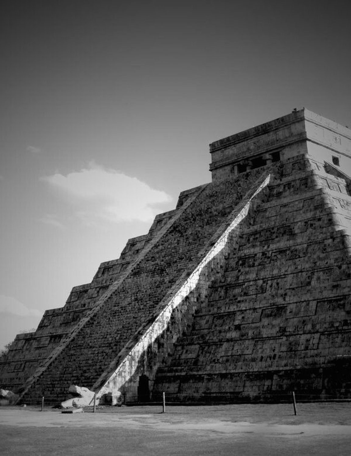 Kukulkán, the Feathered Serpent, sliding down during the equinox.