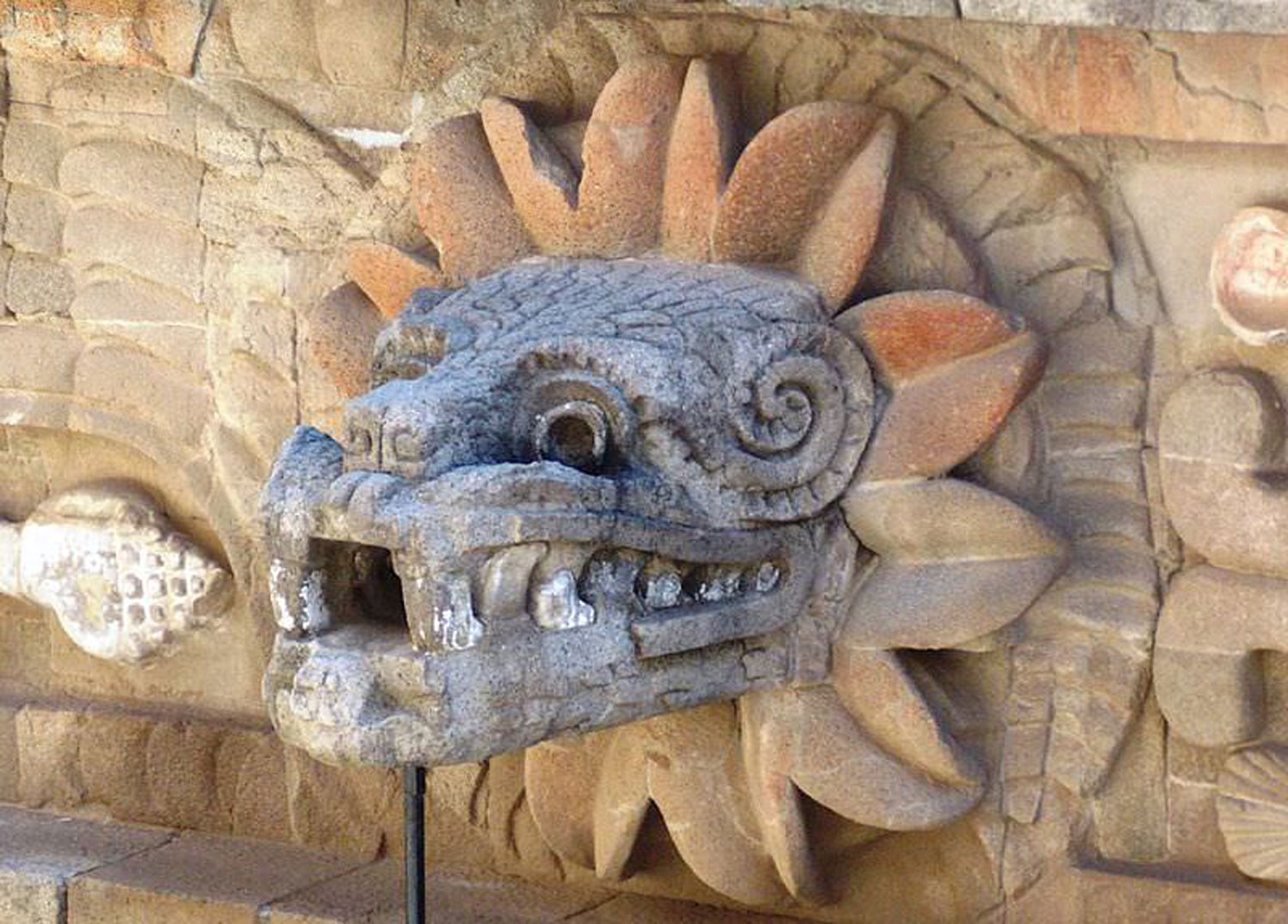 Serpent with feathers in Teotihuacán representing God Quetzalcóatl. Credit: Pinterest.
