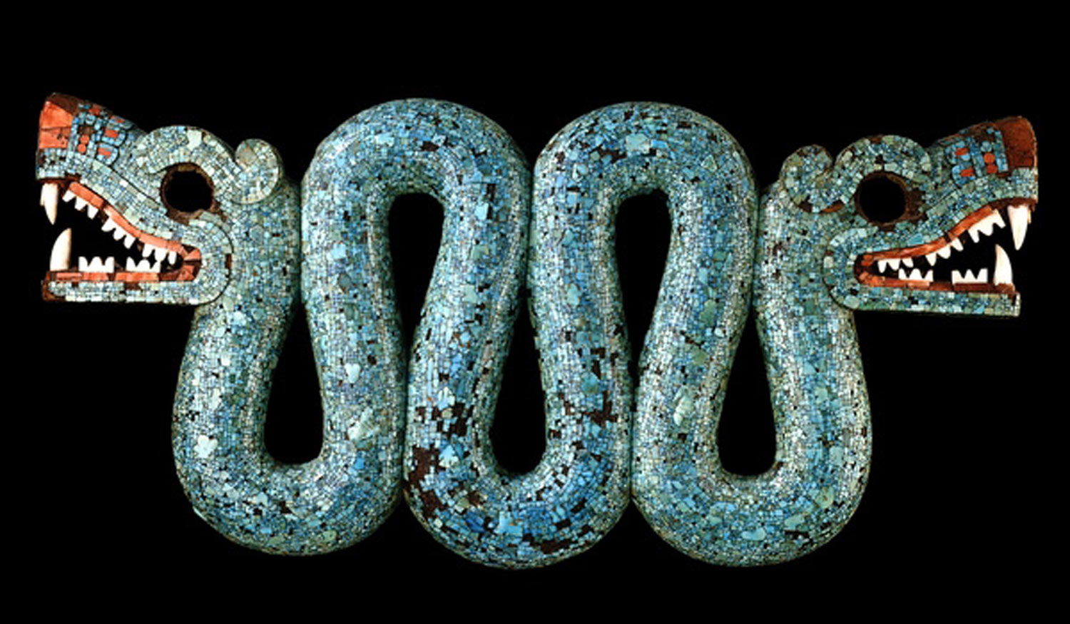 Aztec double-headed serpent: wood, turquoise, pine resin, shell, and others.  The British Museum . Possibly part of a ceremonial costume, worn as a pectoral. It may have been a representation of the earth and underworld with each head representing one.