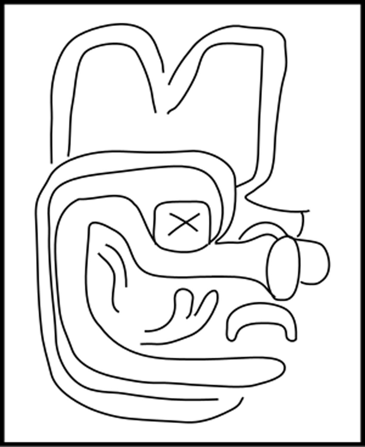 Figure from right leg, generally identified as the Olmec Dragon. Note the  X- like symbol for the serpent (and sky).