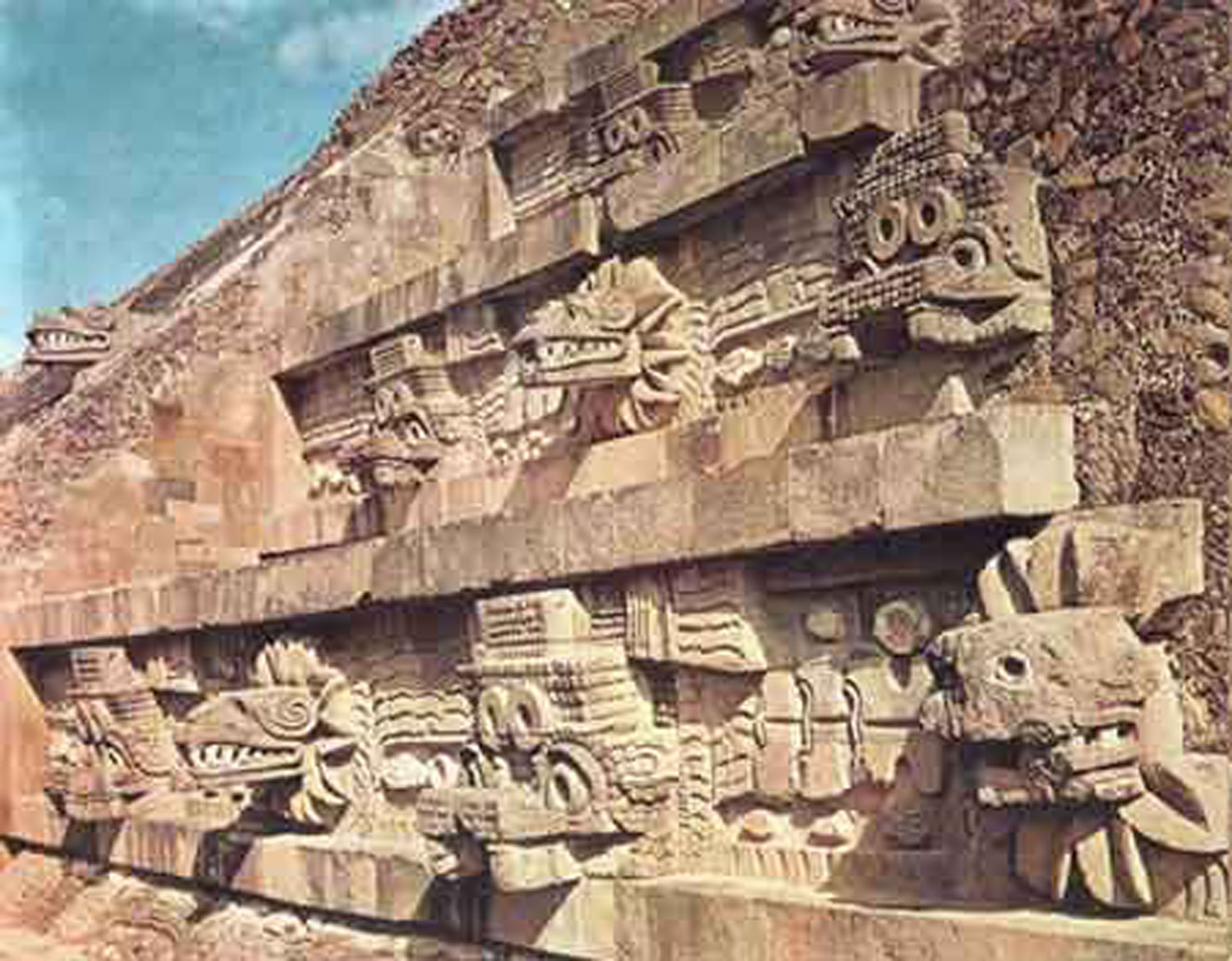 Quetzalcóatl and his avatar Tláloc reliefs alternate on the Temple of the Quetzalcóatl in Teotihuacán. Credit: Pinterest.