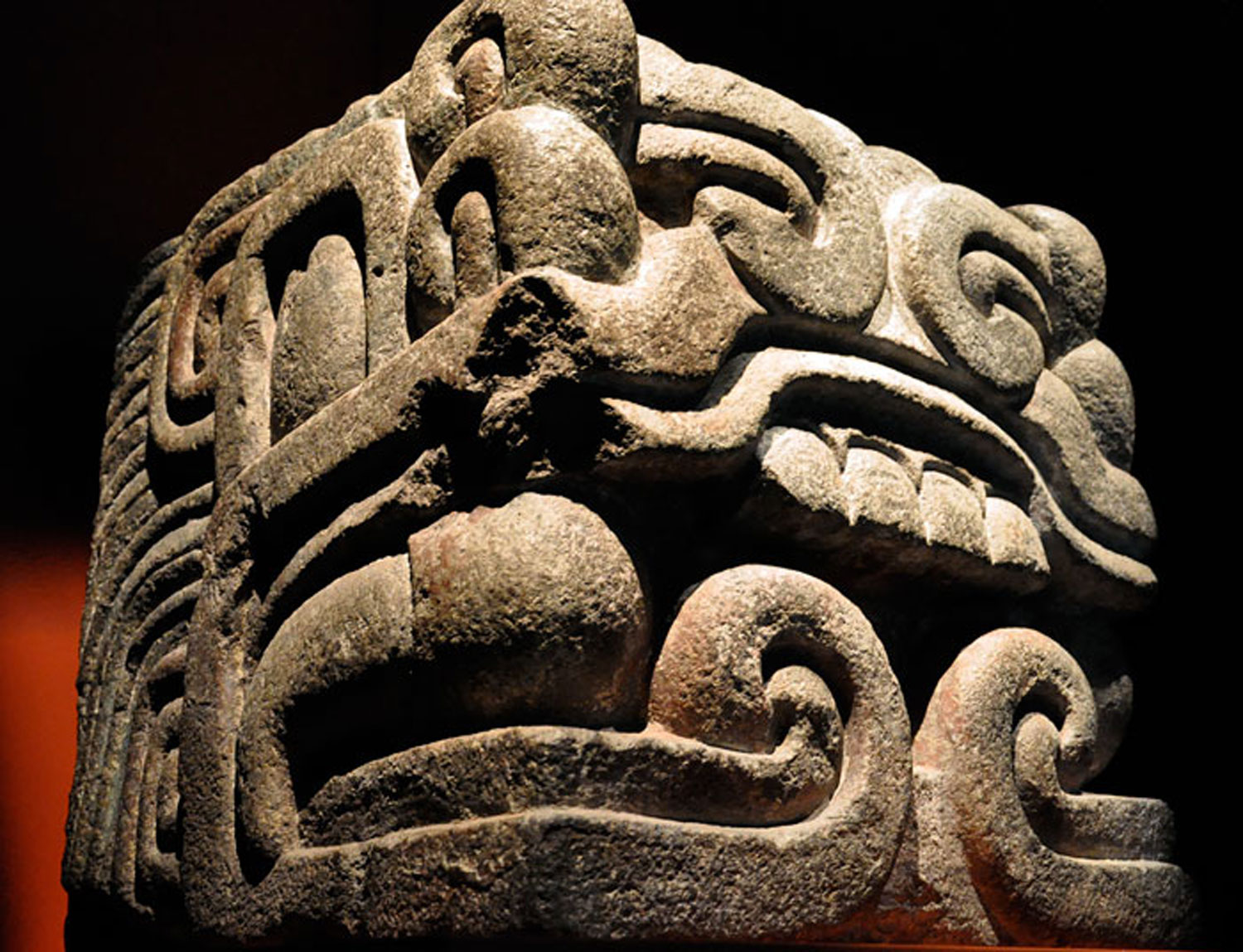 Head of a feathered serpent. National Museum of Anthropology, Mexico City. It head once ornamented Moctezuma II's palace.