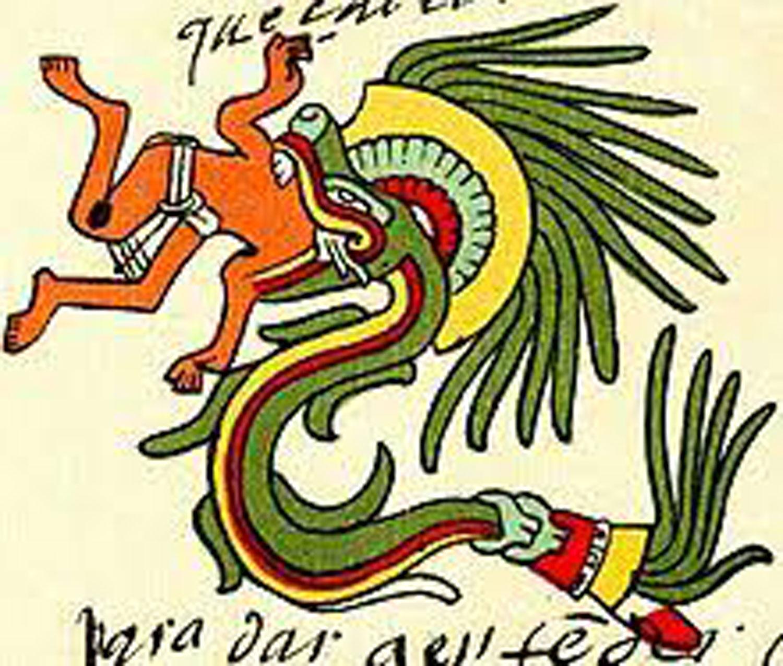 Feathered serpent devouring a man.  Codex Telleriano-Remensis .