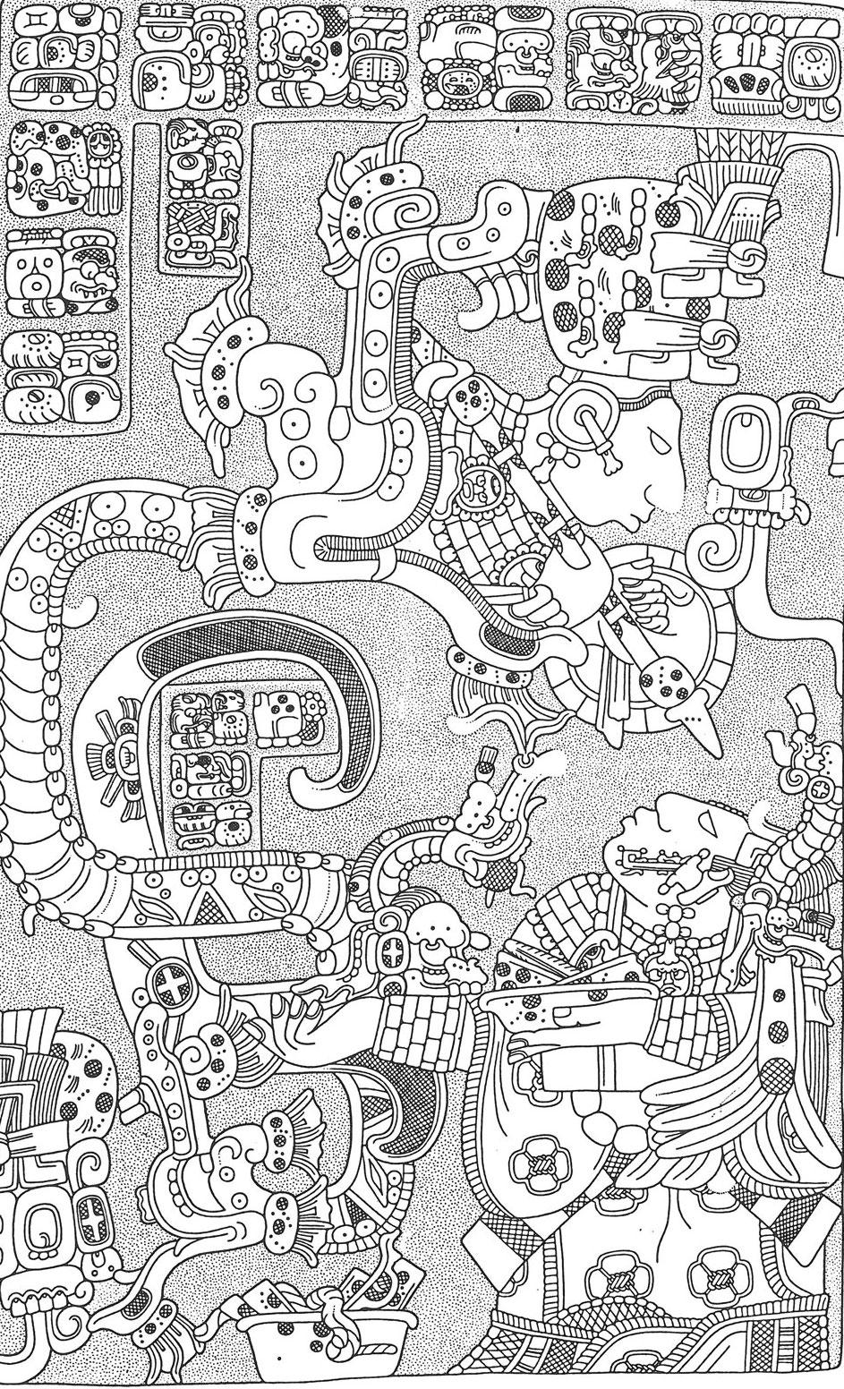 Lintel 25, drawing by Linda Schele. Yaxchilán. Source:  Pinterest