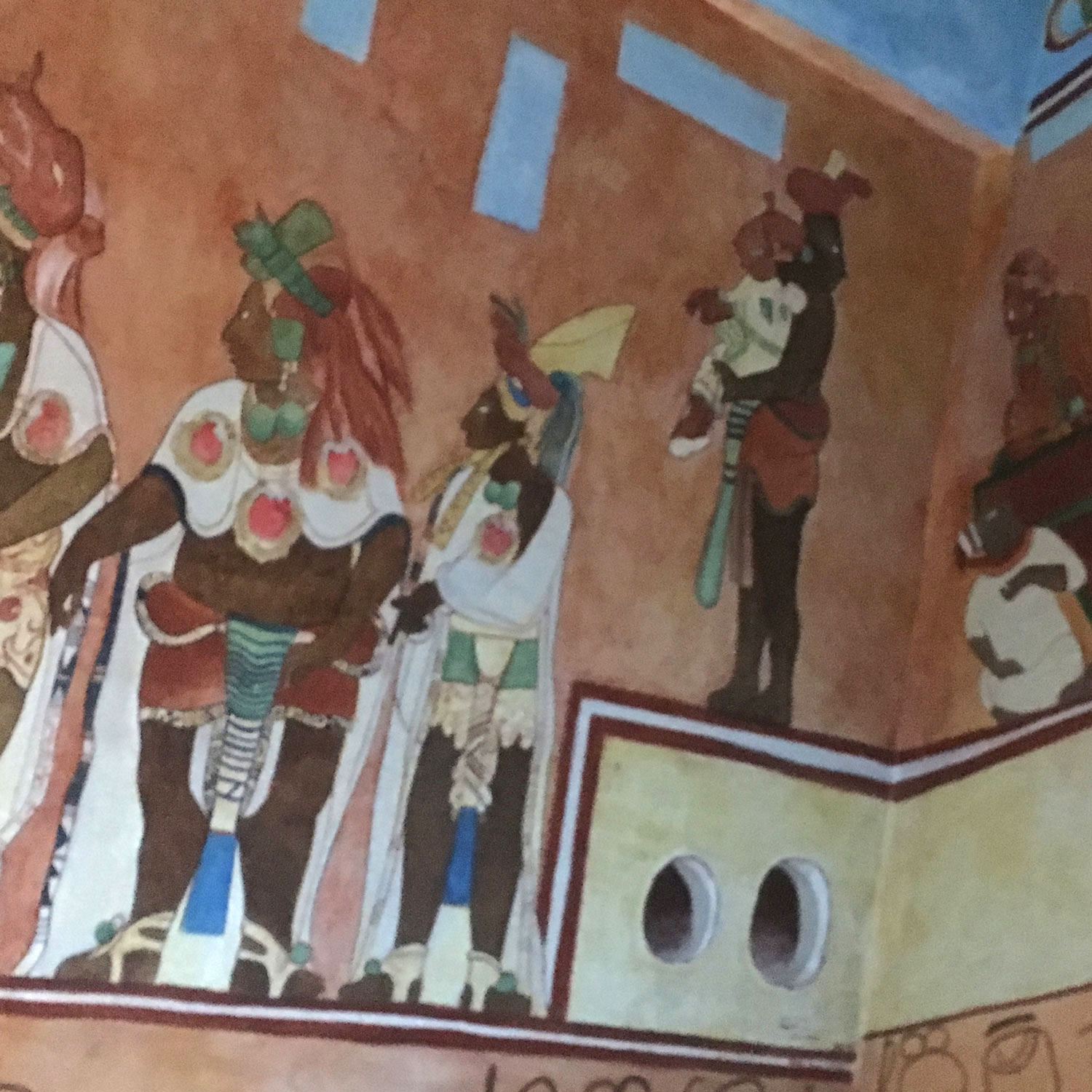 The ruler's child being presented to the lords. Was it a daughter? I took the photos at the Mayan Museum in Chetumal.