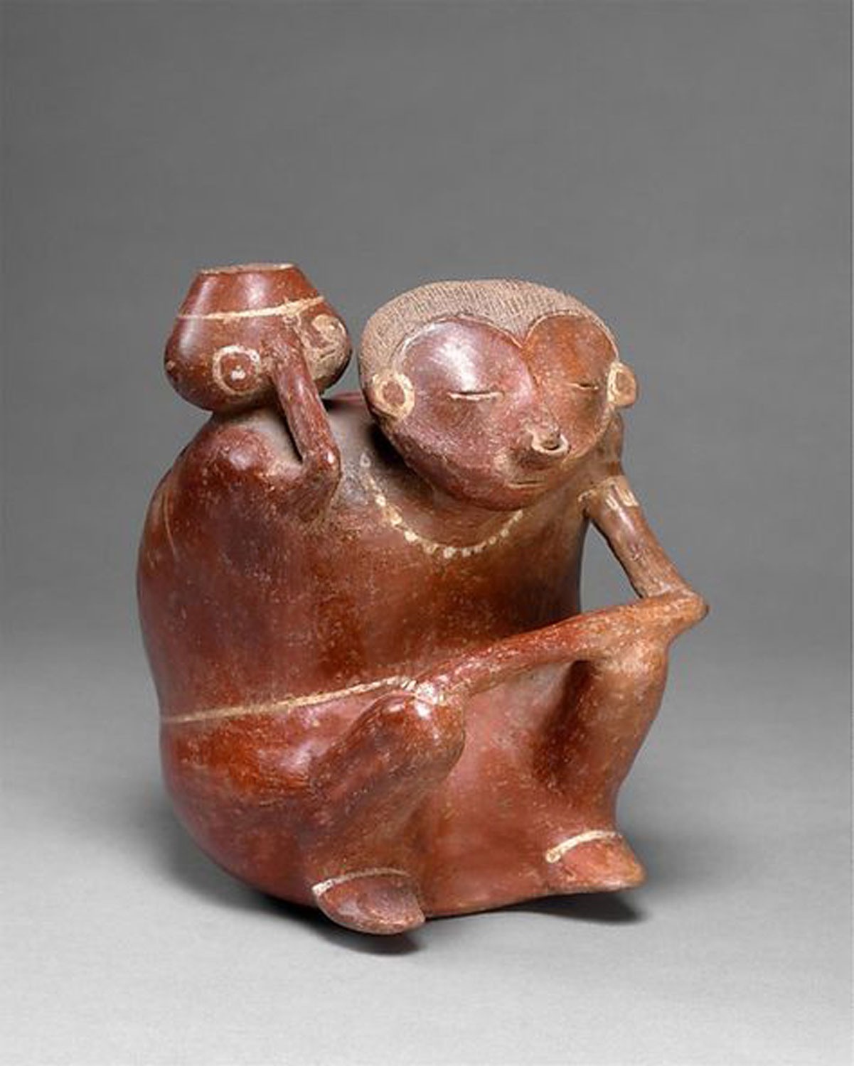 Hunchback with vessel, 1st-3rd century, Nayarit culture, Mexico. Source:  pinterest.com.mx .