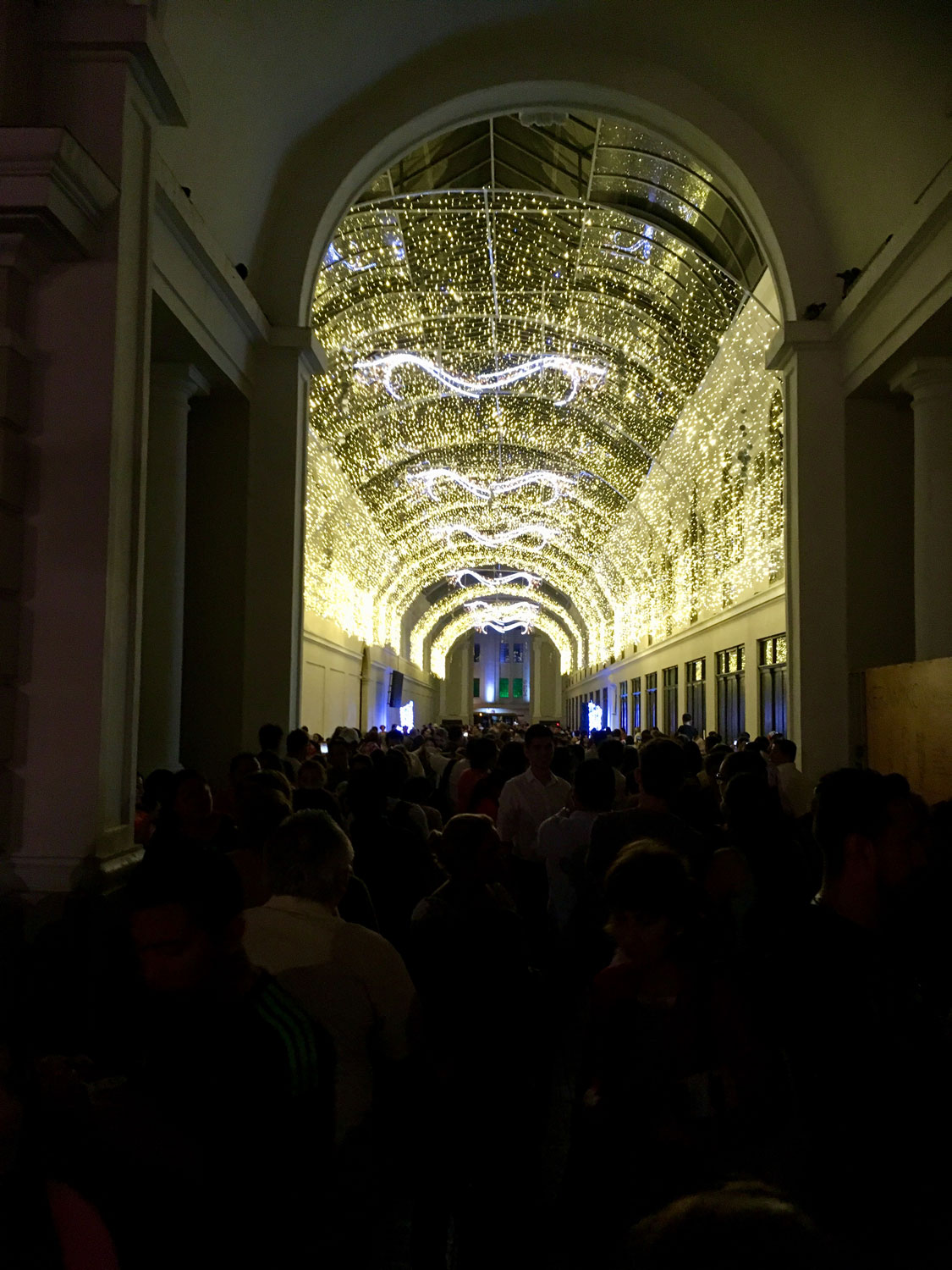 The arcade next to the Cathedral, lit for Christmas.