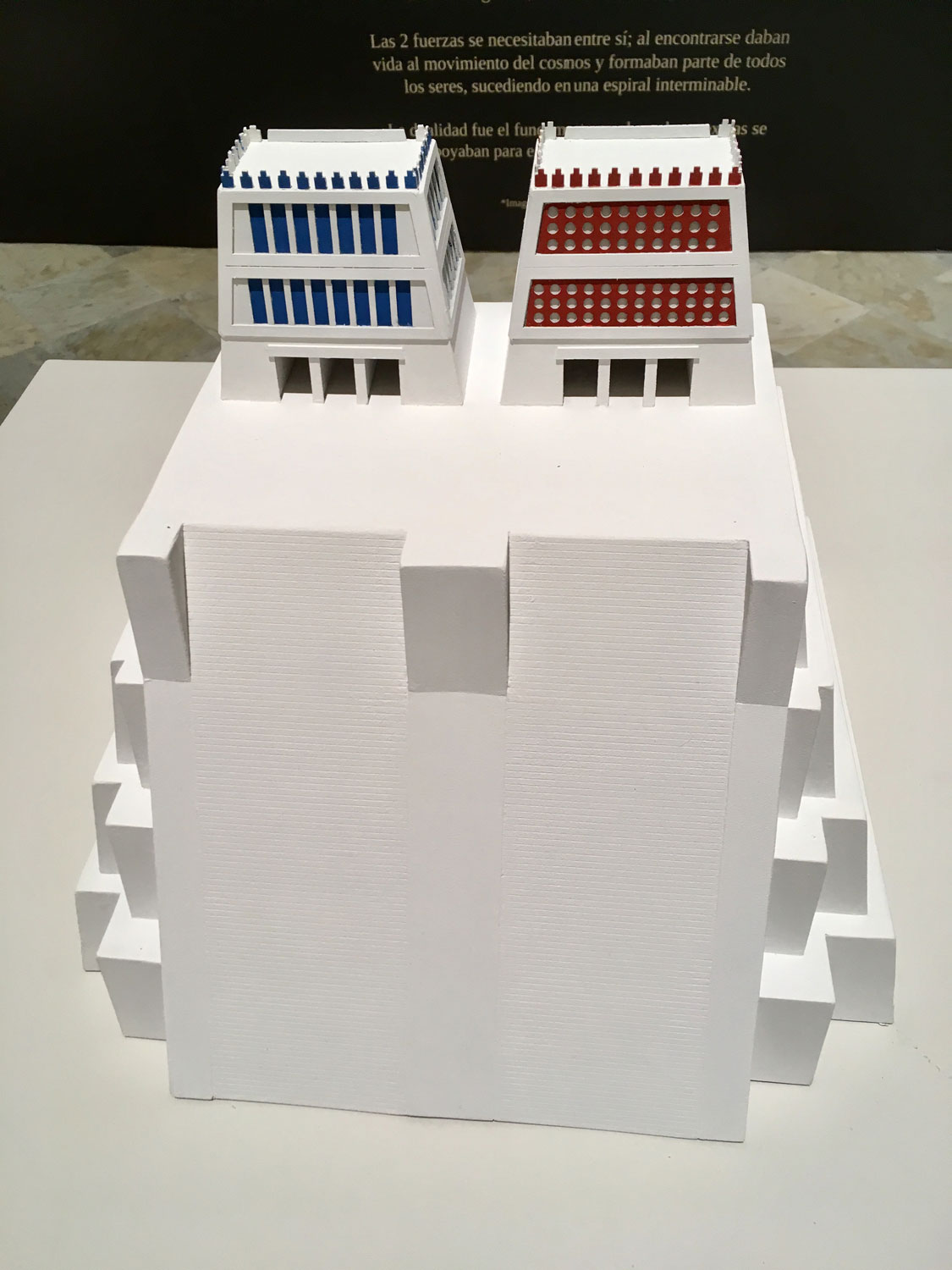 A model of the Great Temple of Tenochtitlán.