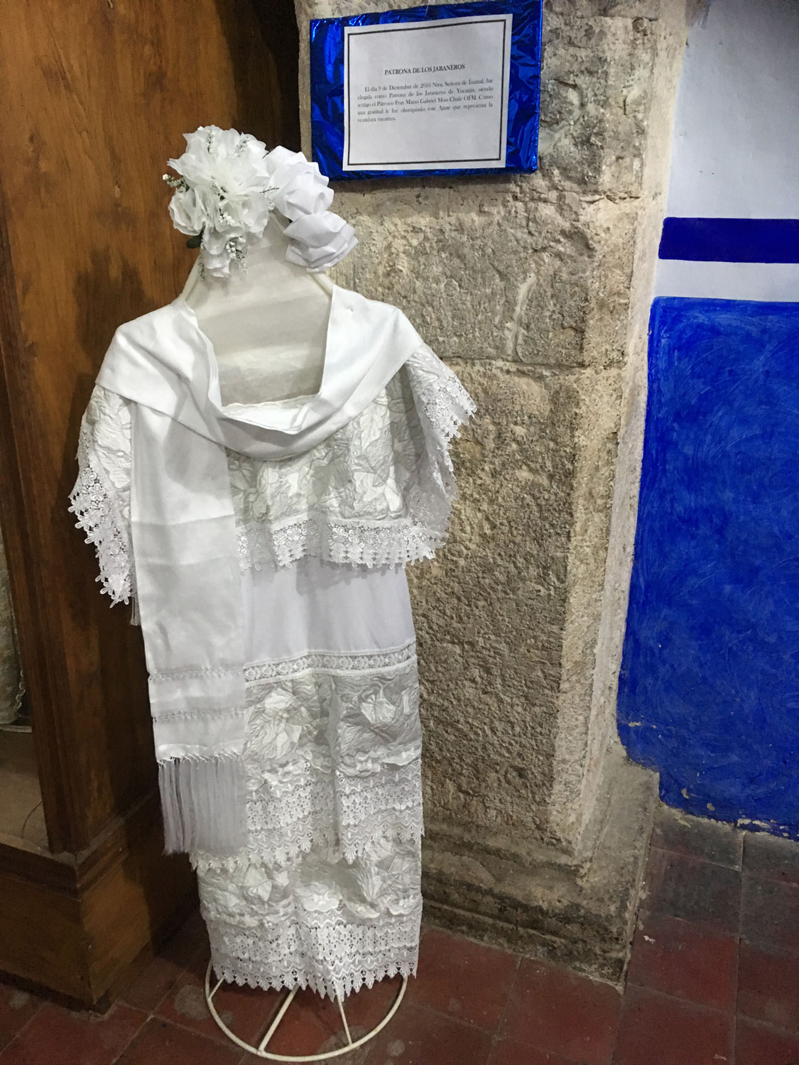The robe of the Virgin of Izamal during the Pope's visit.