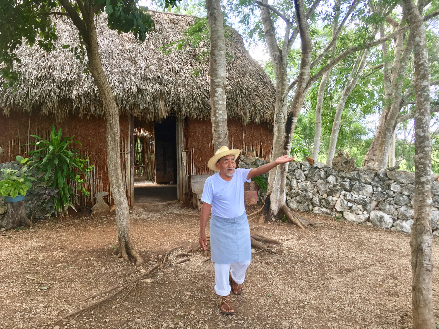 Don Antonio greeted us at the Mayan house amid the fields.