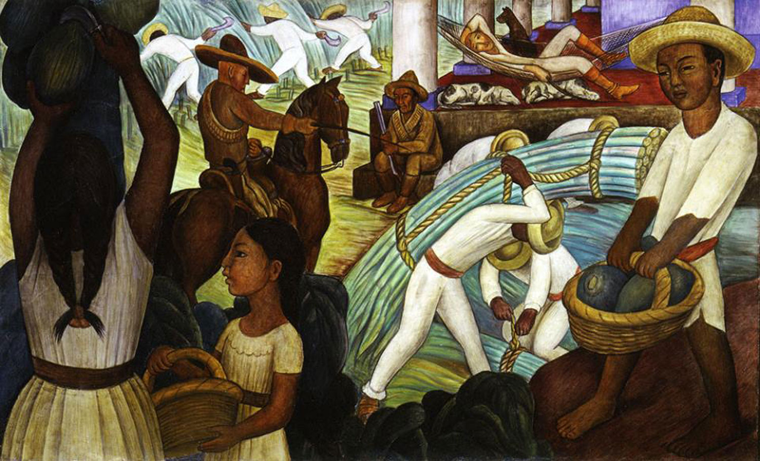 Sugar Cane mural, 1931, by Diego Rivera. The working conditions were the same at henequén haciendas. Source:  pinterest.co.uk .