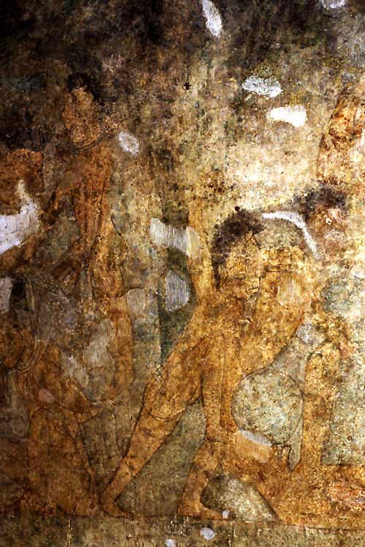 Battle scene of Uxmal lord Chac, on Mulchic mural. Photo Pedro Cuevas, 1990. Source:  revista.unam.mx .