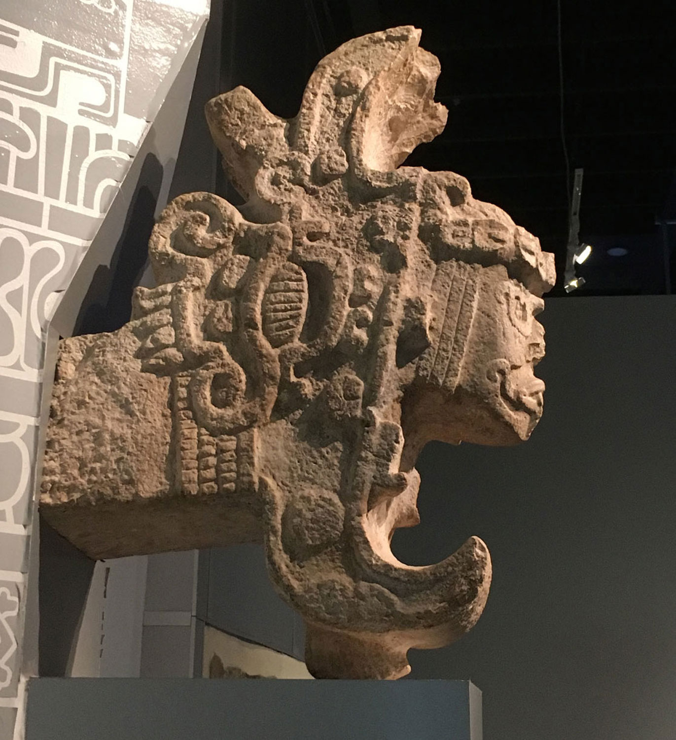 The 'Queen 'of Uxmal is a man coming out of a serpent's jaw, being born. I took the photo at the Mayan World Museum in Mérida.