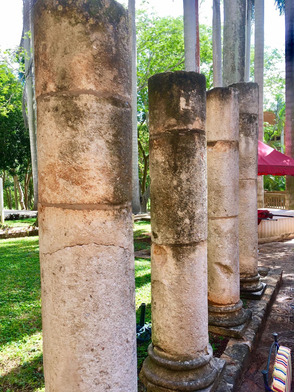 Original stones fro the hacienda are today in the hotel garden.