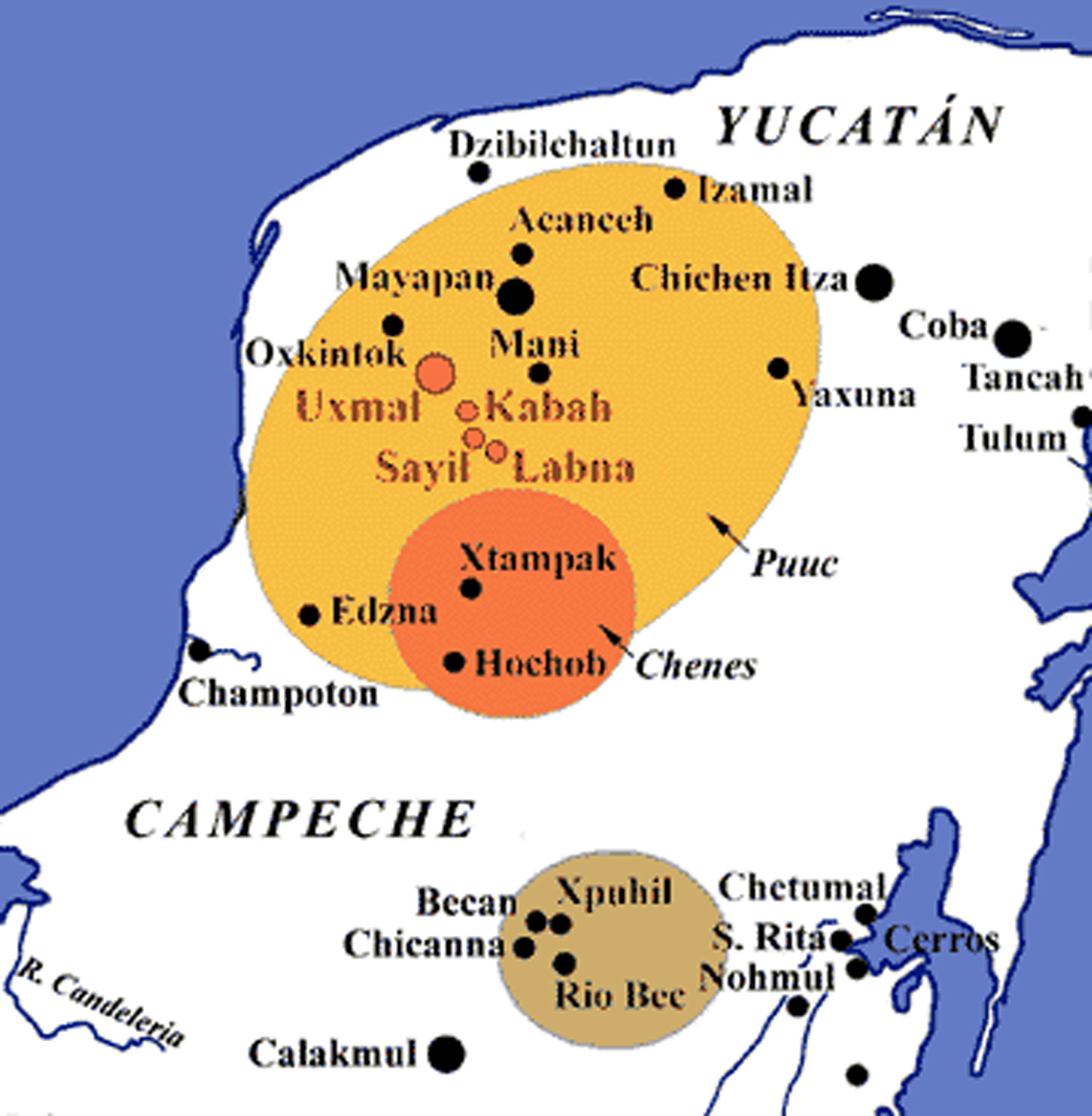The northern Maya lowlands: the Río Bec (tan), Chenes (red), and Puuc (yellow) styles. Right: our road trip map.