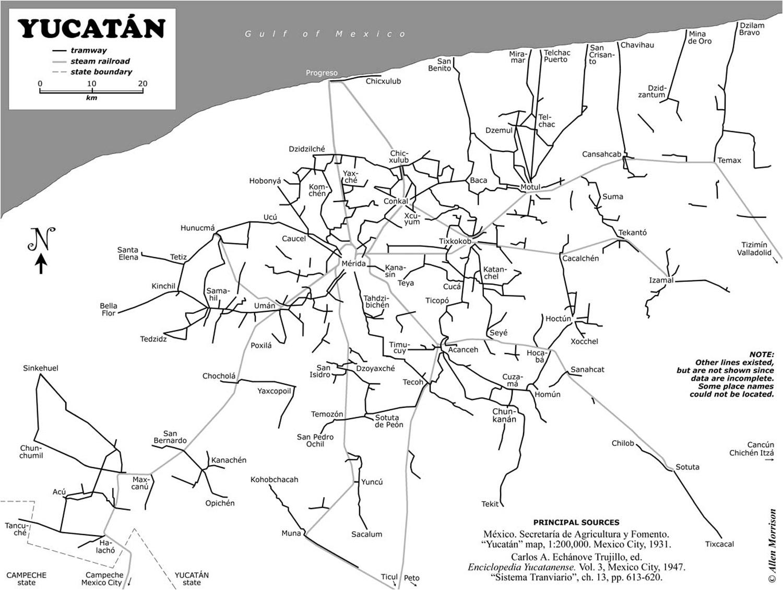 Yucatán rail map. Source:  tramz.com .