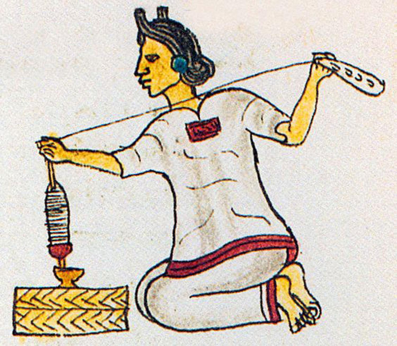 Weaver with spindle. Codex Mendoza (original in Bodleian Library, Oxford) folio 68r. Source:  pinterest.com.mx .