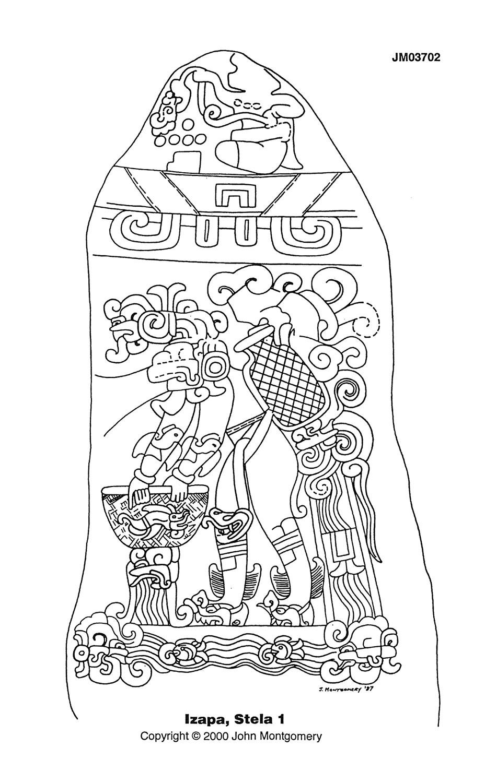Izapa Stela 1, drawing by John Montgomery. Source:  research.famsi.org .