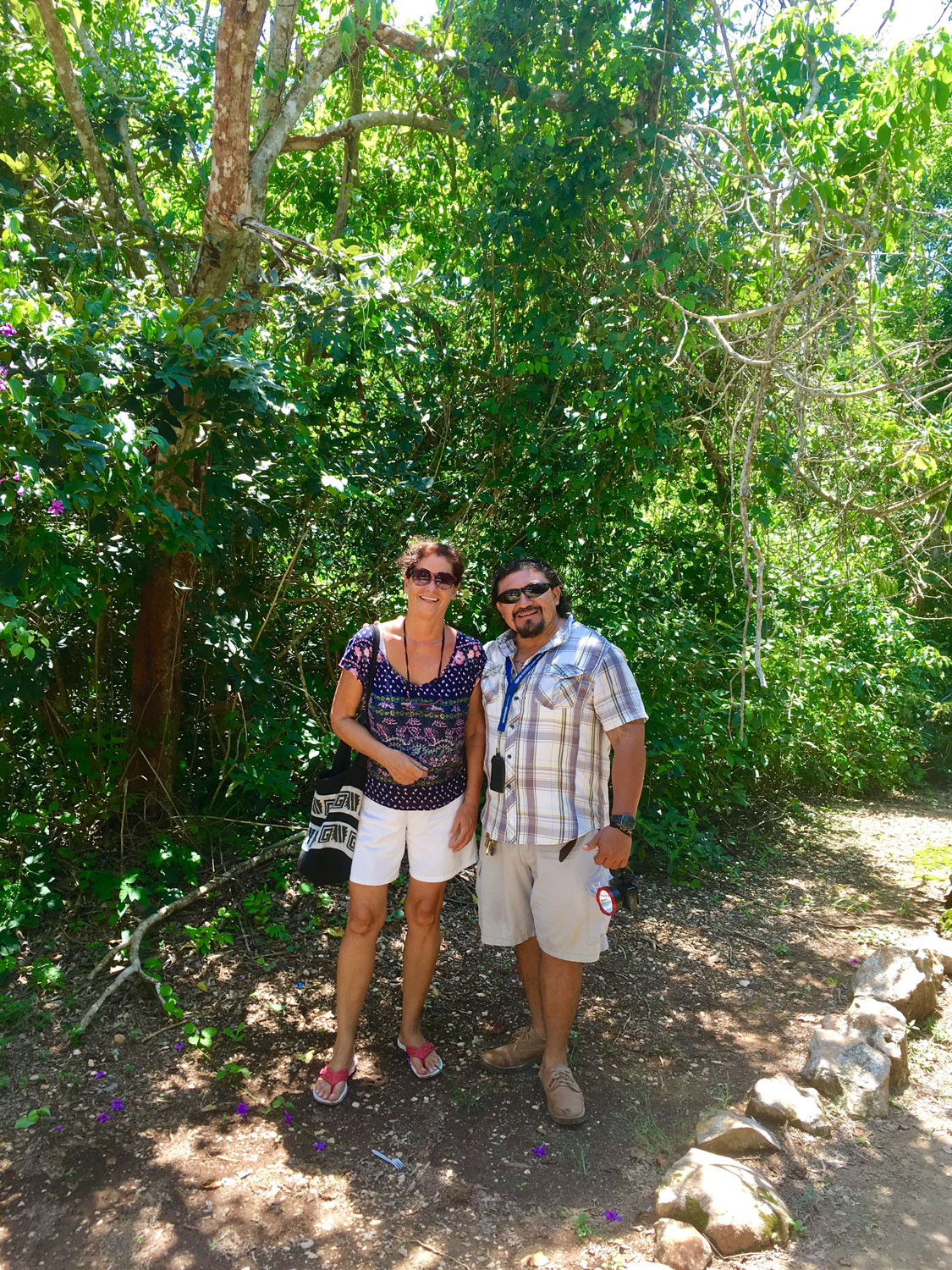 With our guide Miguel at the exit, right in the middle of the jungle.