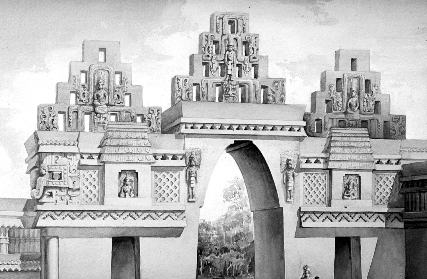 Rulers (or gods?) on the arch. Reconstruction drawings by  Tatiana Proskouriakoff , 1946. Source:  reed.edu .