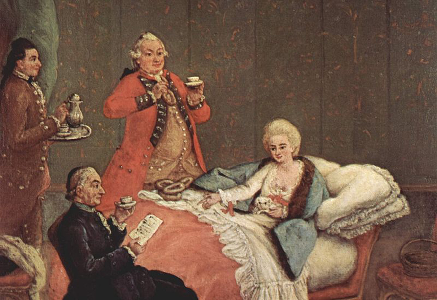 Pietro Longhi's painting of morning chocolate at a European court (18th century), copy on display at the museum.