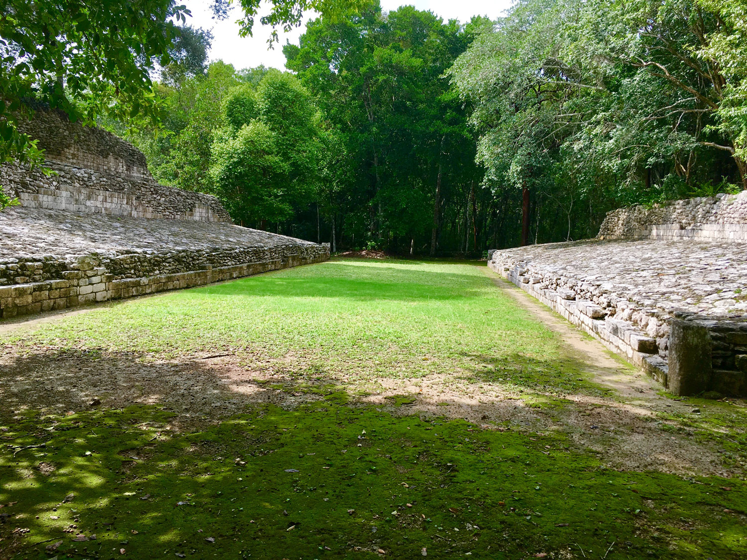 Becán ball court. Above: the ball court at   Cobá  .