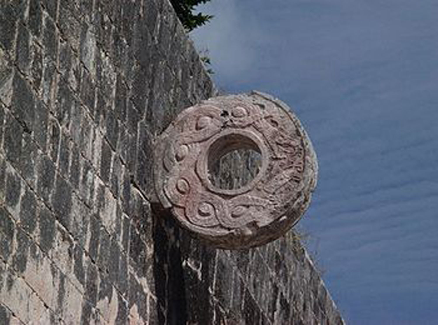 The ball court ring at  Chichén Itzá. The rings often had images of celestial bodies or serpents.