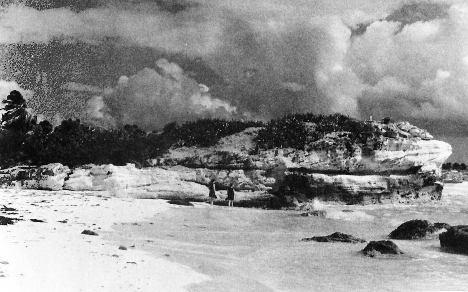 Yox Xixim, an old photo of the rock of the old Maya port settlement.