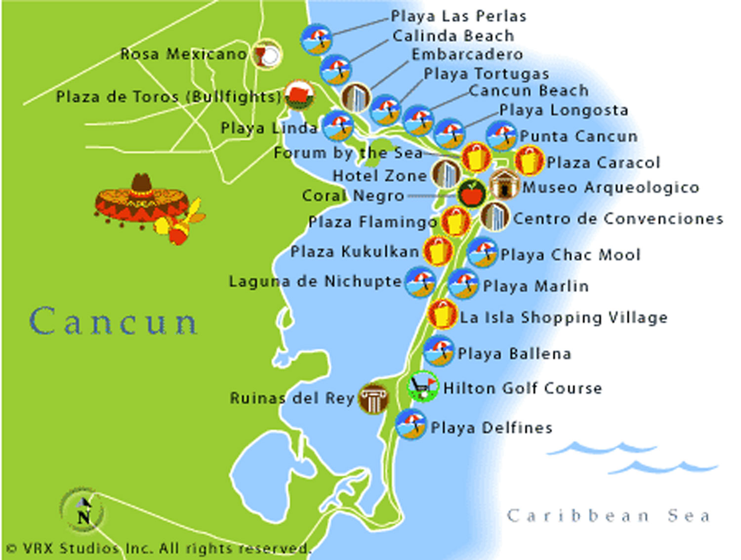 This map shows the beaches of Cancún and the shopping malls across the road.