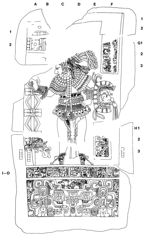 Drawing of Bonampak Stela 1, with Aj Sak Teleech's name. Drawing by Peter Mathews. Source:  mesoweb.com .
