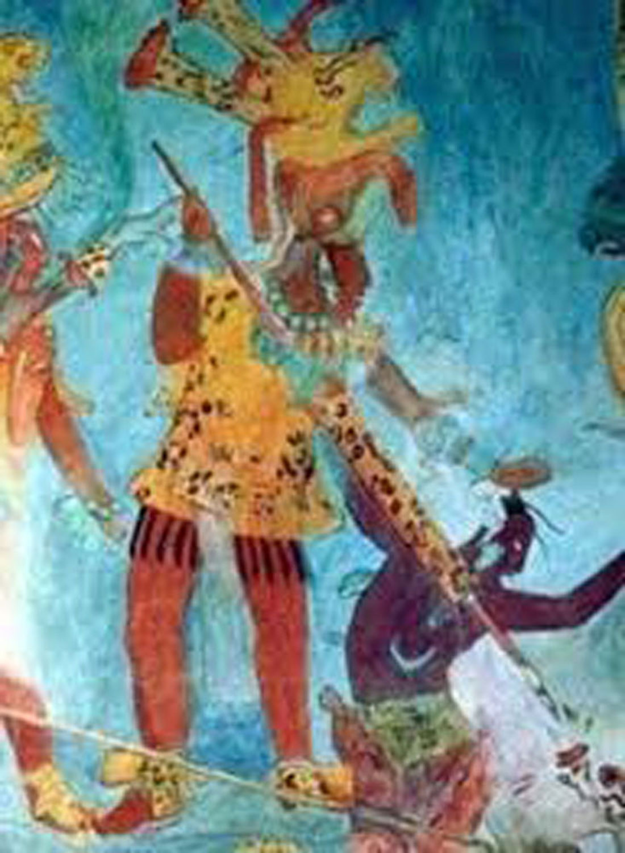 Bonmpak mural:Yajaw Chaan Muwan capturing an enemy.