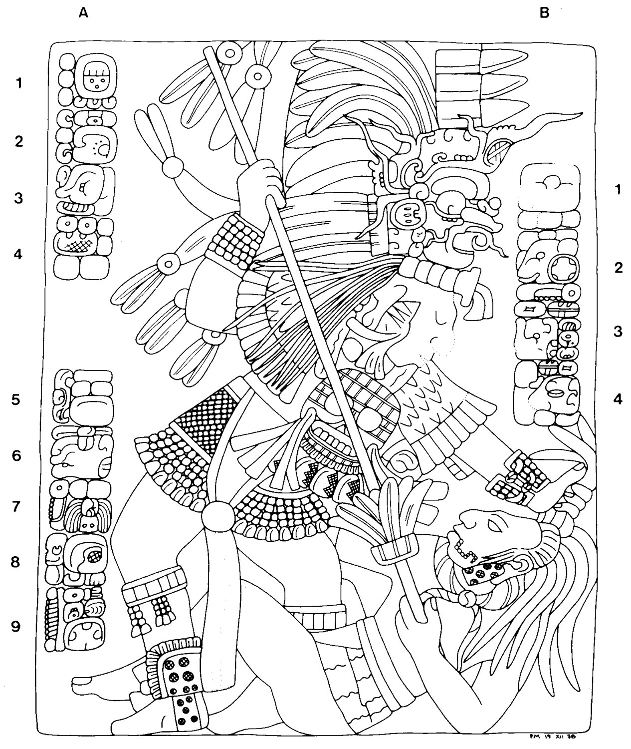 Lintel 3 depicts the Lizard King from Lacanjá in his own battle, capturing an enemy. Drawing by Peter Mathews. Source:  mesoweb.com .