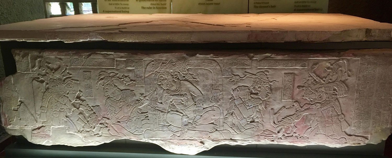 The throne tablet of K'inich Ahkal Mo' Nahb, Palenque museum.