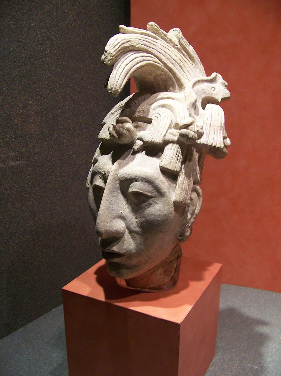 Portrait Head of Pakal, Palenque, c. 650-83, stucco (National Museum of Anthropology, Mexico City)