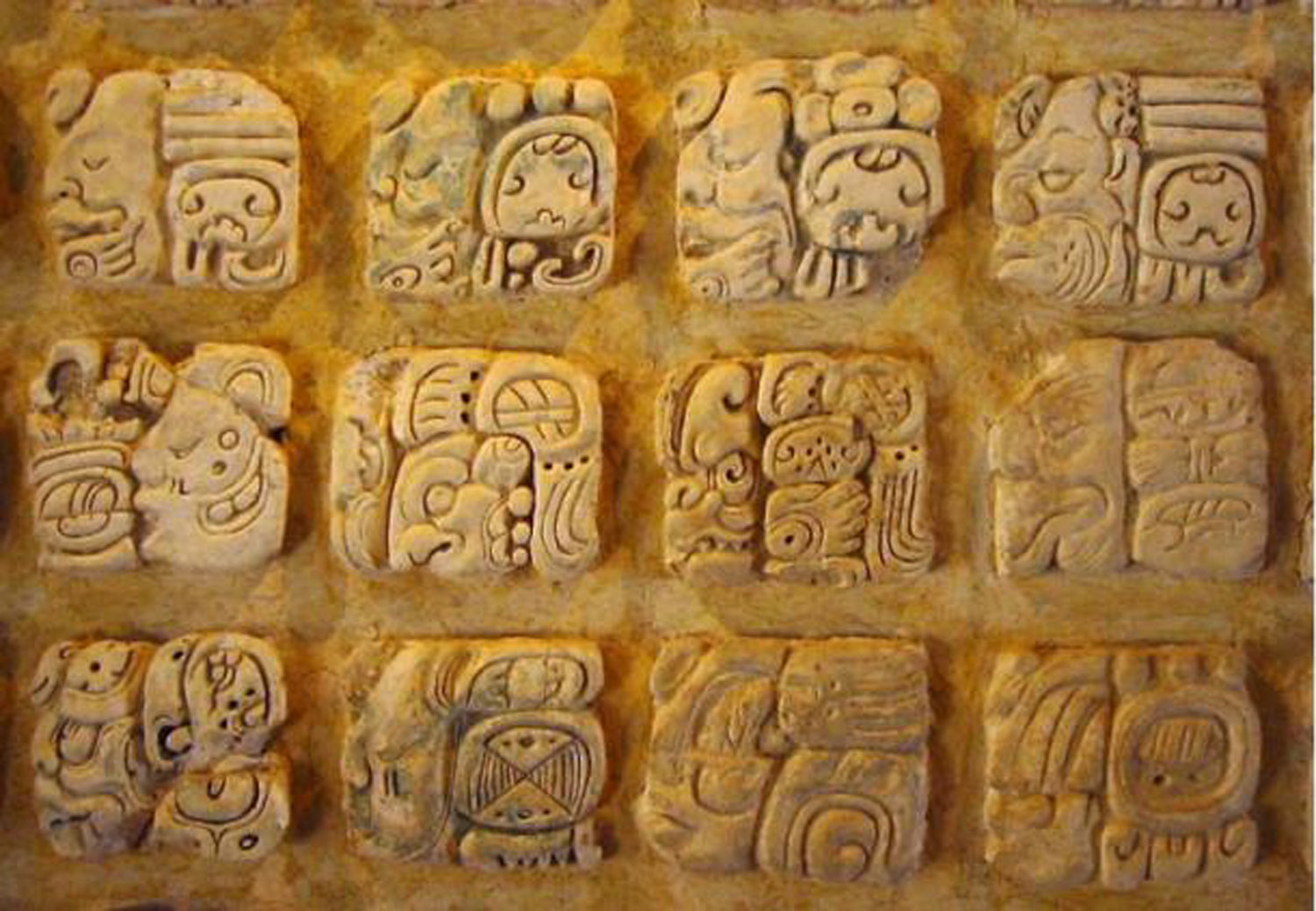 Maya carved glyphs from Palenque. Source:  commons.wikimedia.org . Right: Madrid Codex:  latinamericanstudies.org .