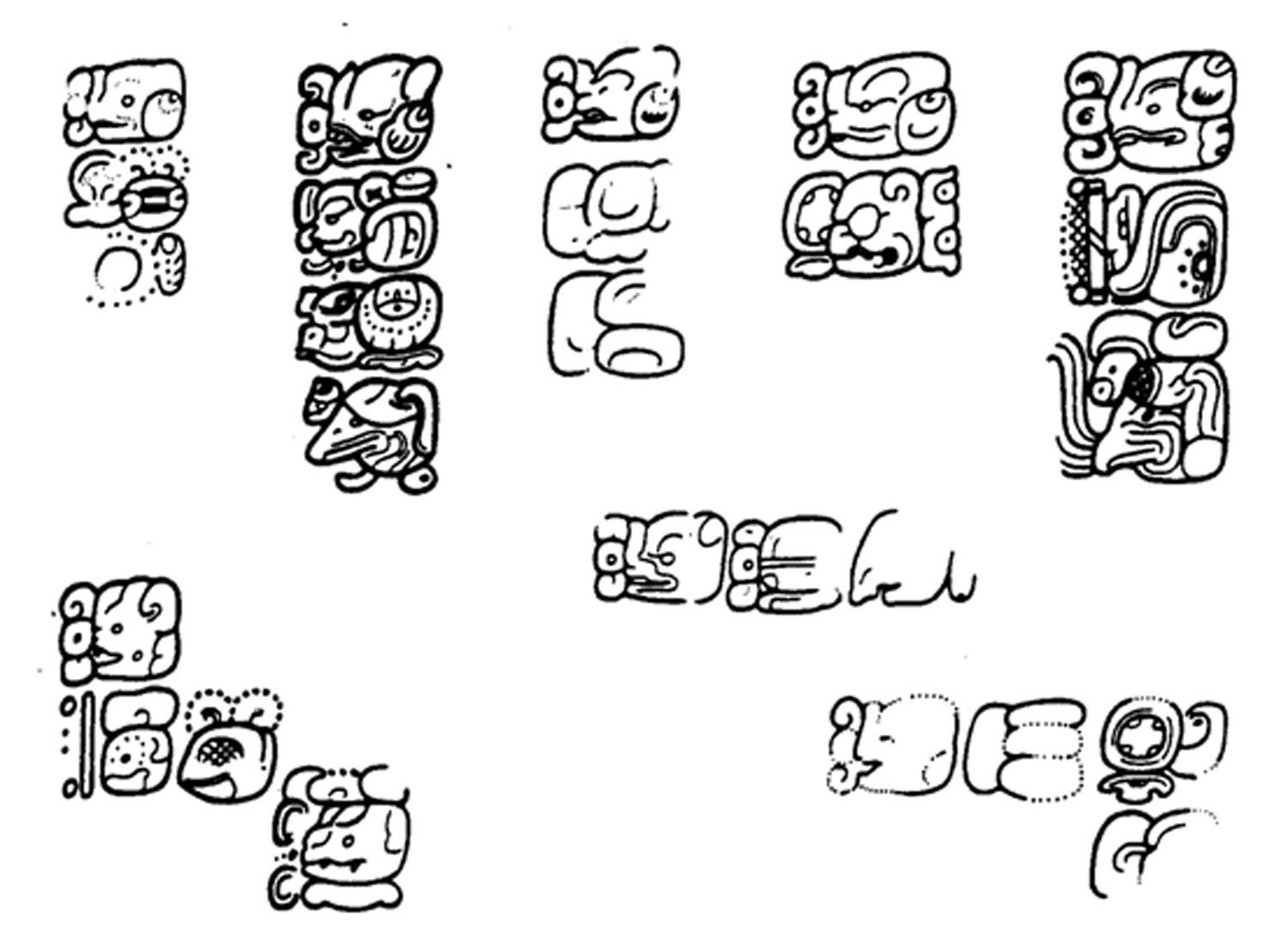 Eight examples of Maya 'lu-Bat' glyph for 'engraver' followed by the engraver's name found on Stela 31, El Perú, Guatemala, as presented by Michael Coe. (Coe 2012, 249)