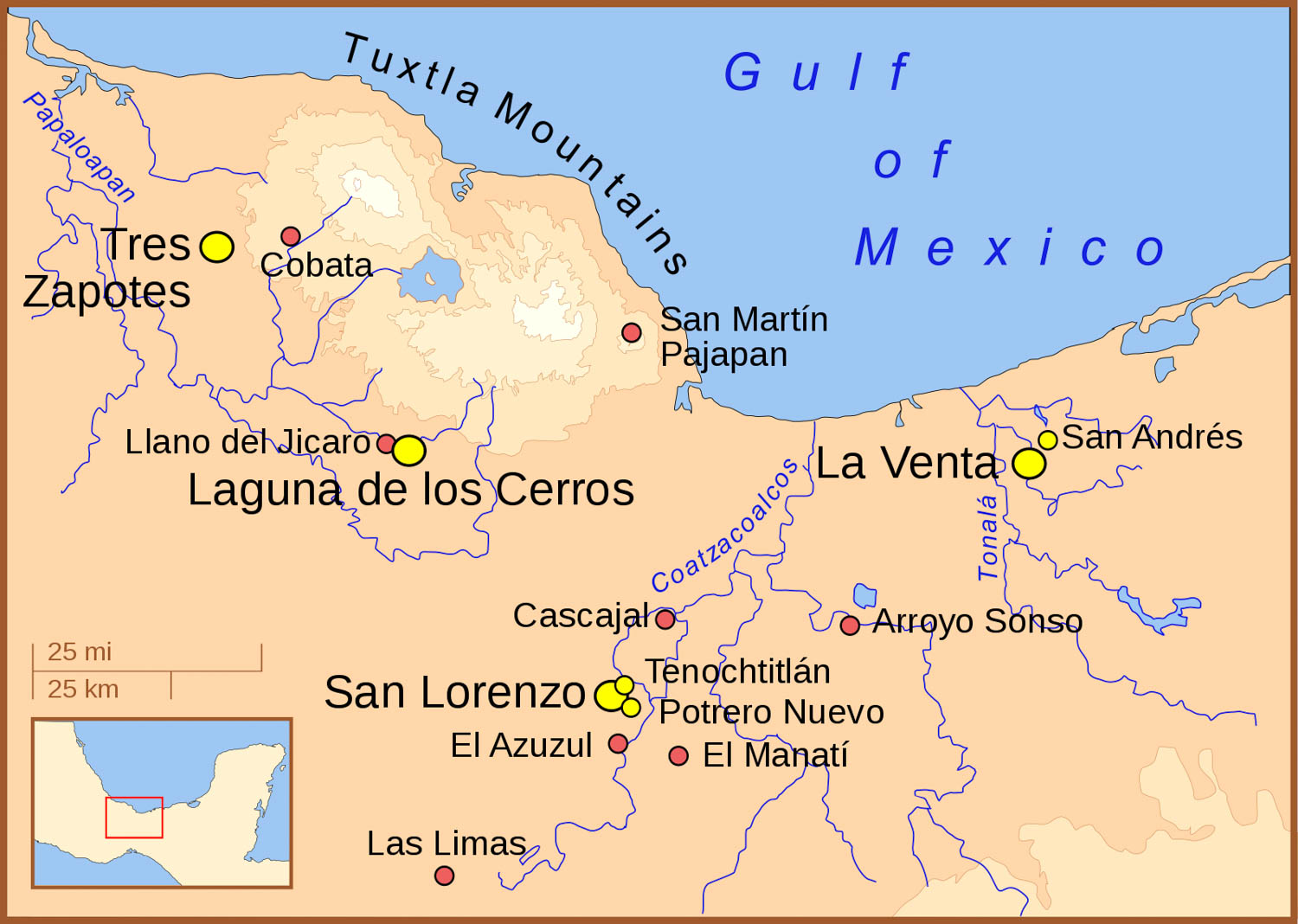 A map of the Olmec heartland:  wikipedia.org .