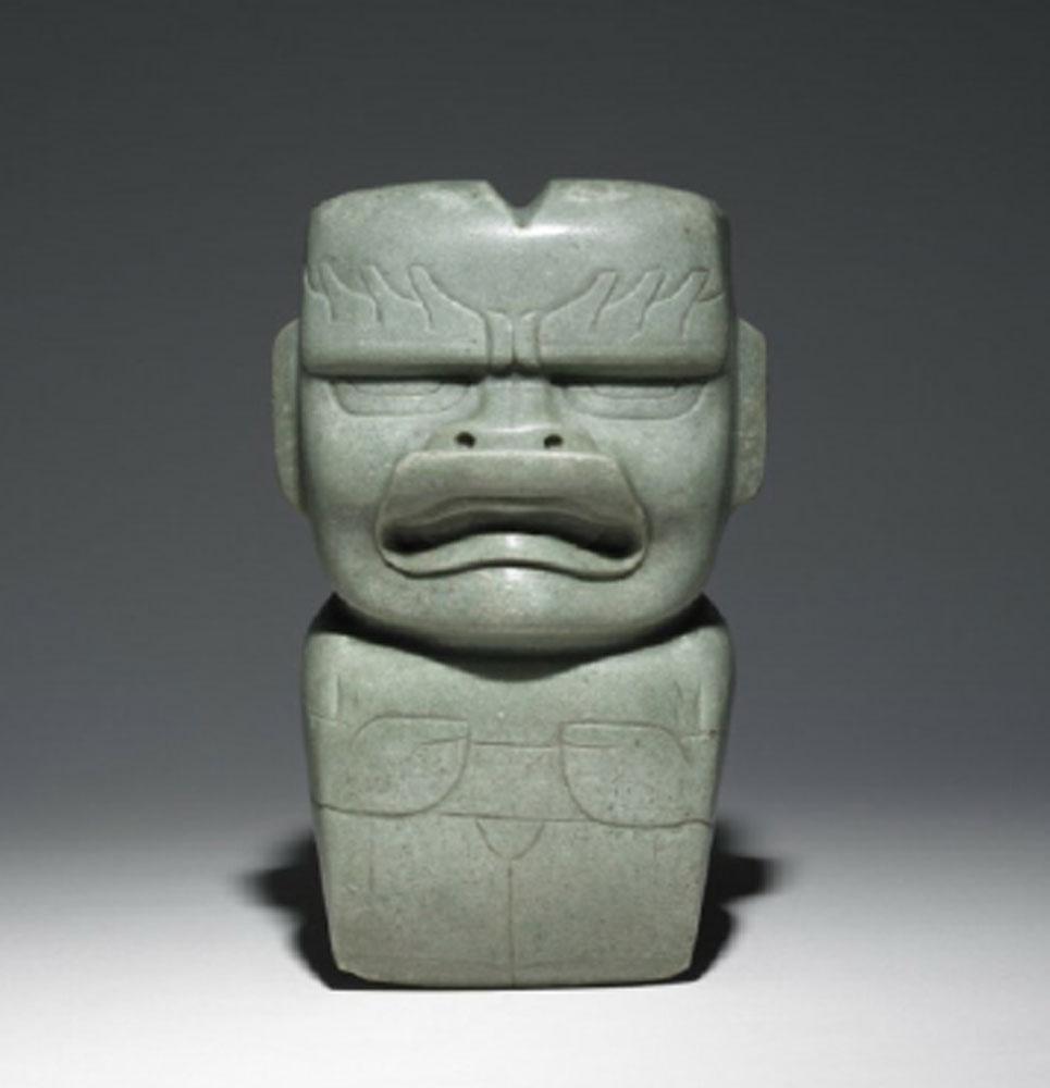 Ceremonial Axe in the Form of Olmec were-jaguar, from La Venta, 900-400 BC. Jadeite.  researchgate.net .